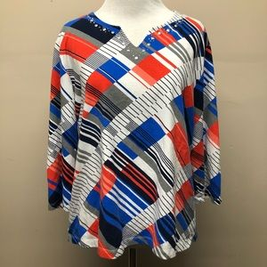 Alfred Dunner Abstract Beaded Blouse Size LP